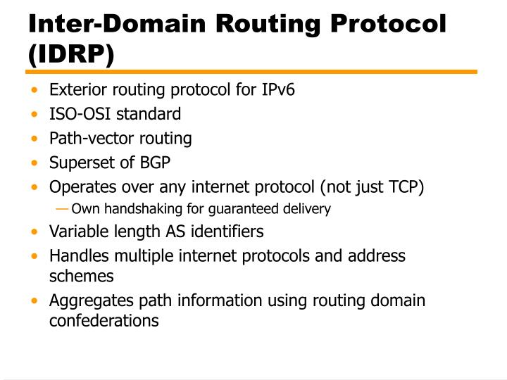 Inter-Domain Routing Protocol (IDRP)