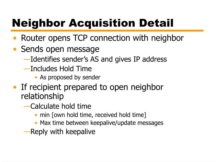 Neighbor Acquisition Detail
