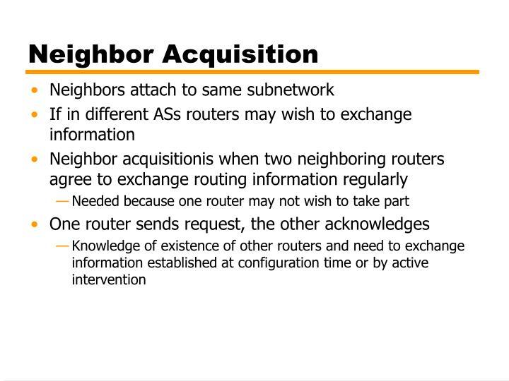Neighbor Acquisition