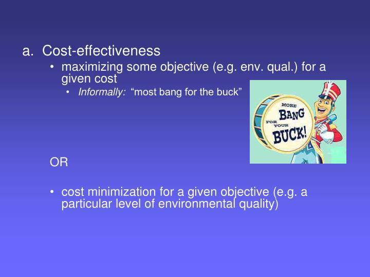 a.  Cost-effectiveness