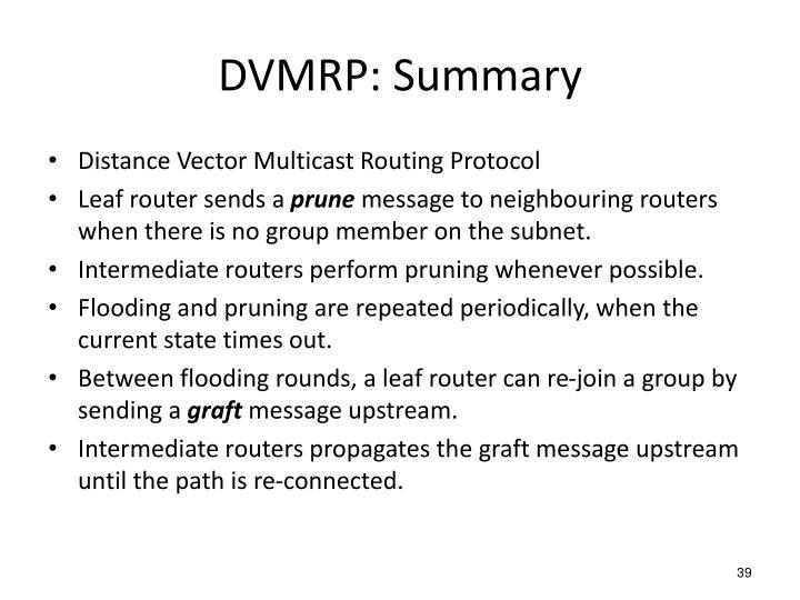 DVMRP: Summary