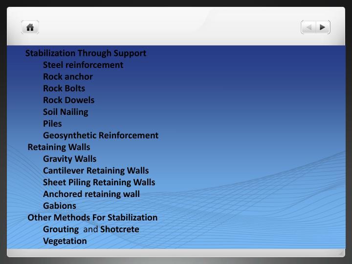Stabilization Through Support