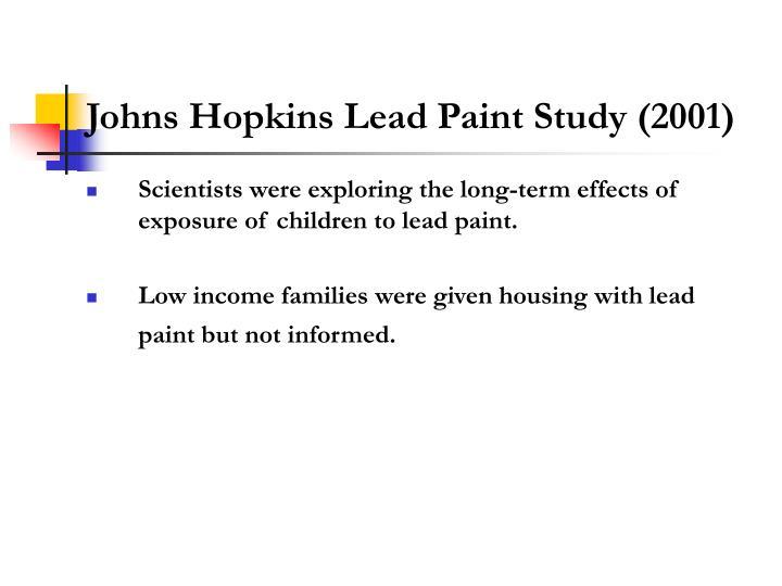 Johns Hopkins Lead Paint Study (2001)