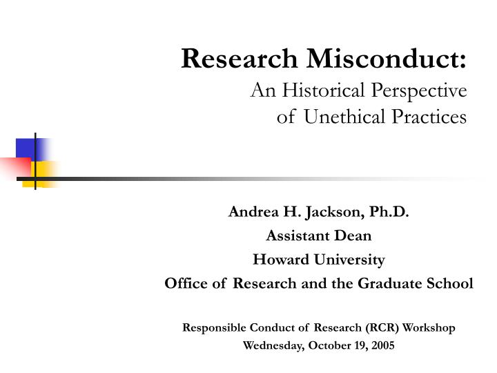 Research Misconduct: