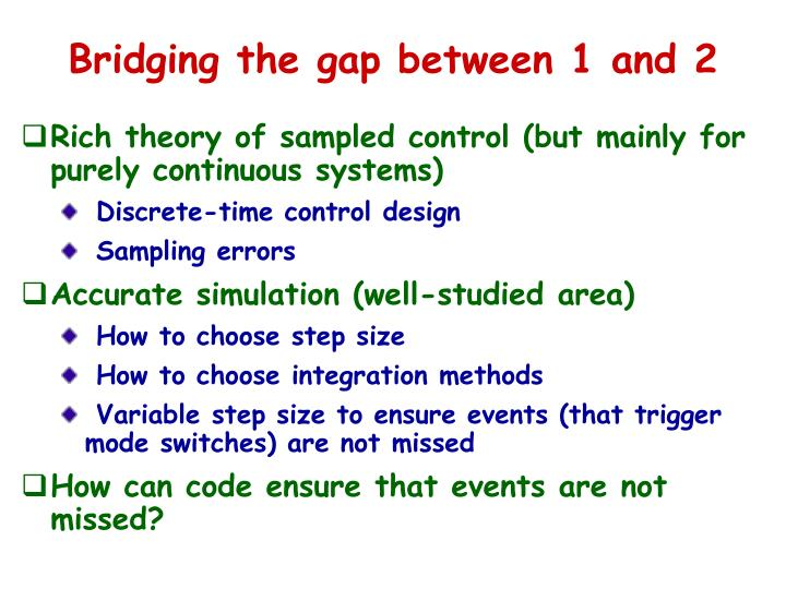 Bridging the gap between 1 and 2