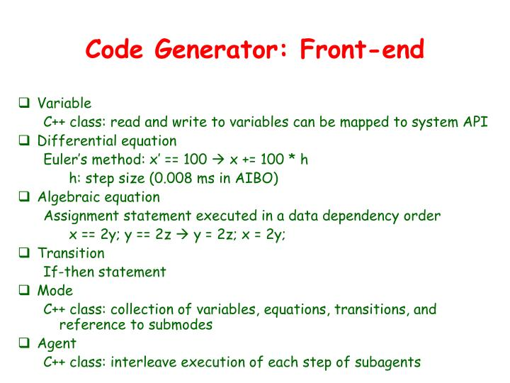 Code Generator: Front-end
