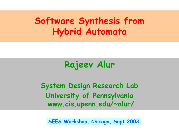 Software Synthesis from