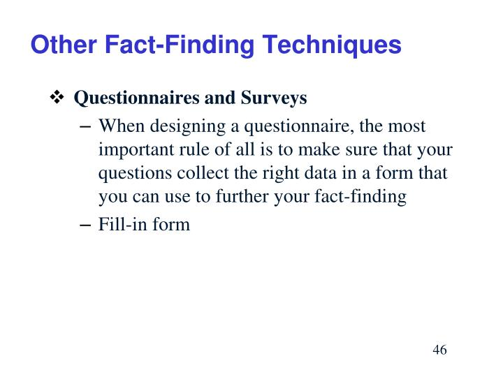 Other Fact-Finding Techniques