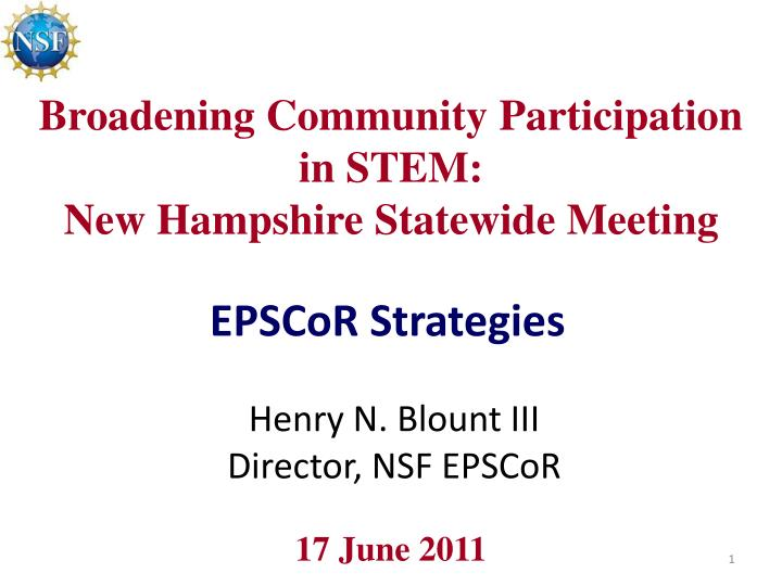 Broadening community participation in stem new hampshire statewide meeting