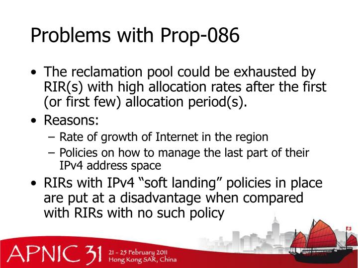 Problems with Prop-086