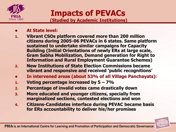 Impacts of PEVACs