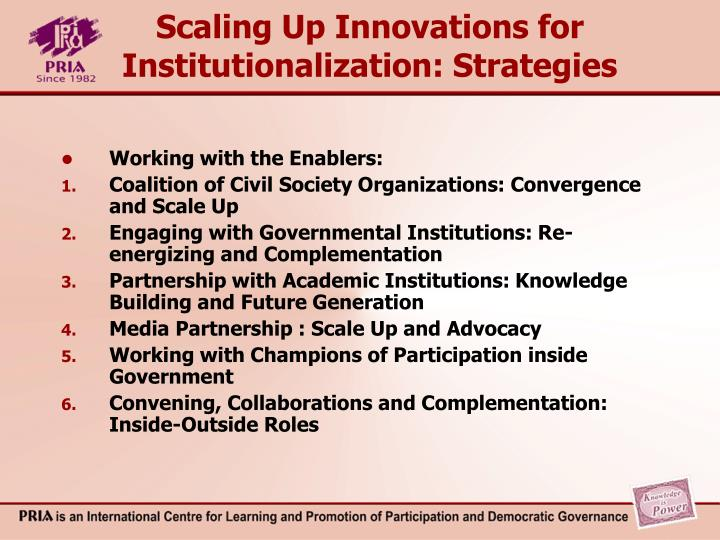 Scaling Up Innovations for Institutionalization: Strategies