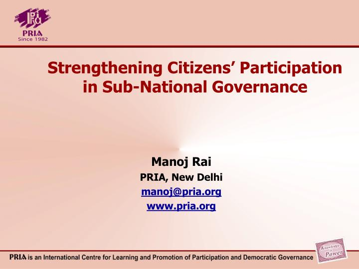 Strengthening citizens participation in sub national governance