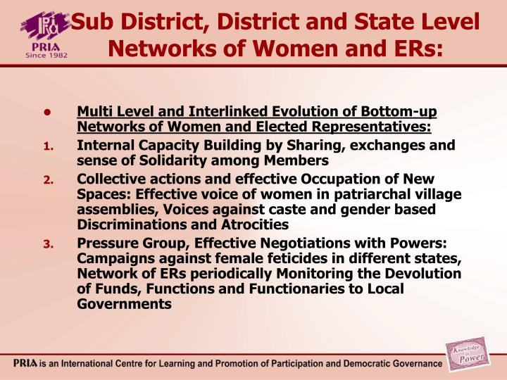 Sub District, District and State Level Networks of Women and ERs: