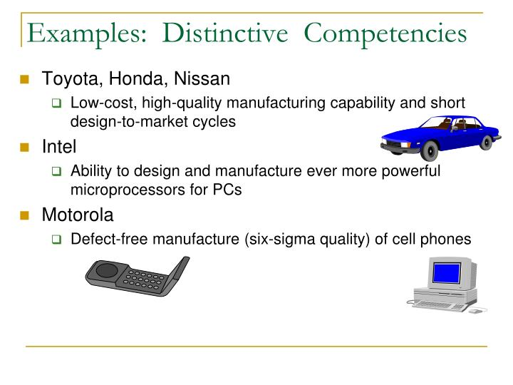 Examples:  Distinctive  Competencies