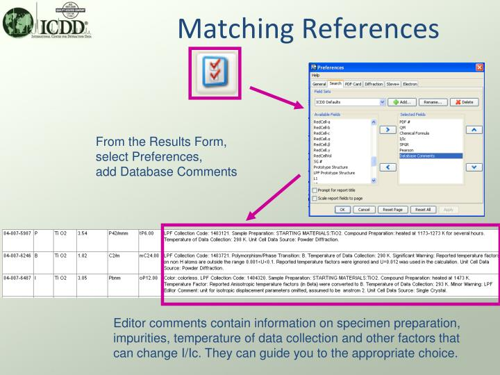 Matching References