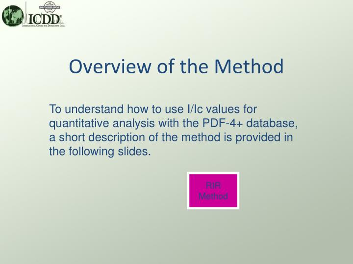 Overview of the Method