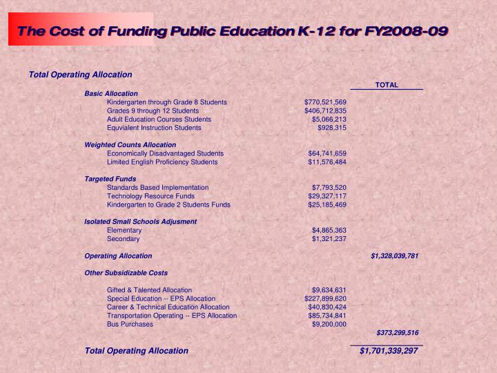 The Cost of Funding Public Education