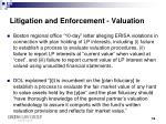 litigation and enforcement valuation