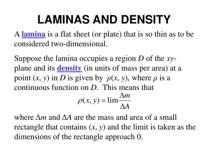 Laminas and density