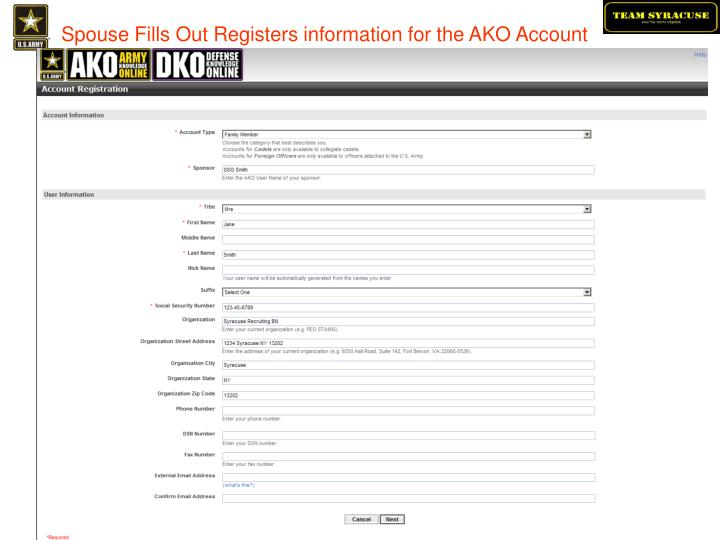 Spouse Fills Out Registers information for the AKO Account
