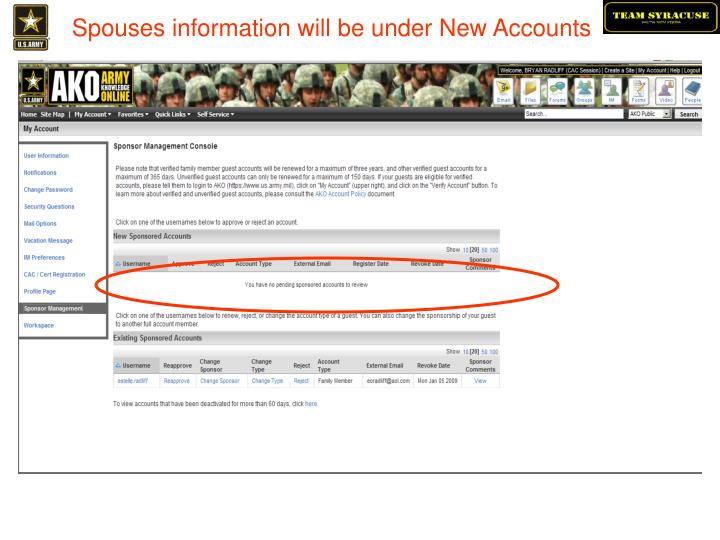 Spouses information will be under New Accounts
