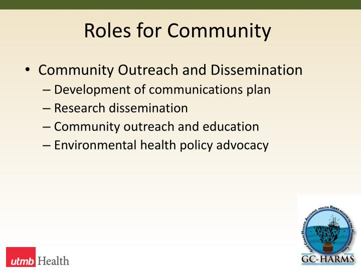 Roles for Community
