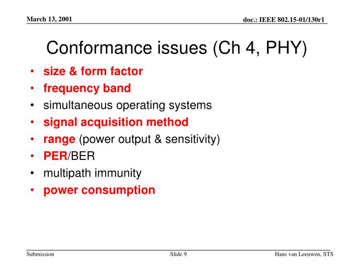 Conformance issues (Ch 4, PHY)