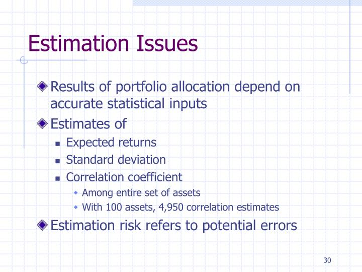 Estimation Issues