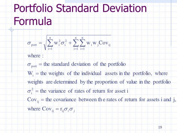 Portfolio Standard Deviation Formula