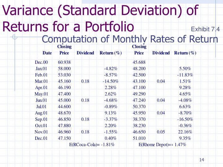 Variance (Standard Deviation) of Returns for a Portfolio