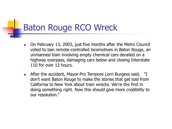 Baton Rouge RCO Wreck