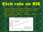 etch rate on rie