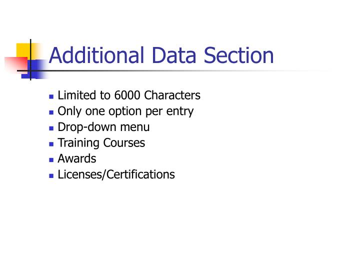 Additional Data Section