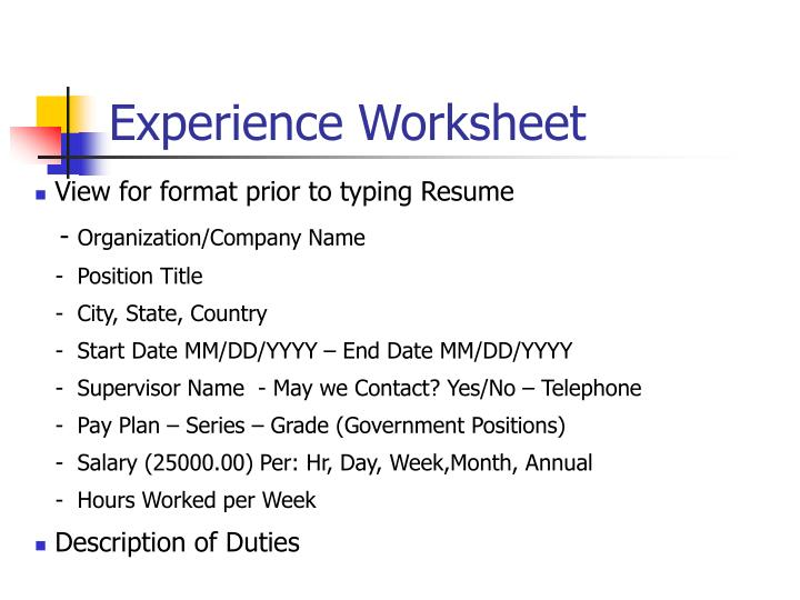 Experience Worksheet