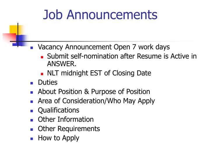 Job Announcements
