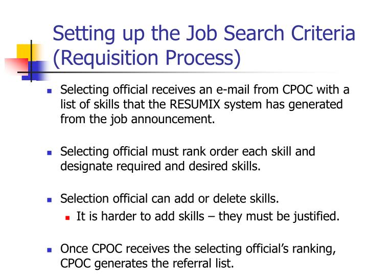 Setting up the Job Search Criteria (Requisition Process)