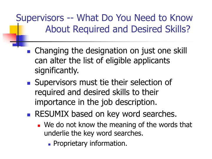 Supervisors -- What Do You Need to Know