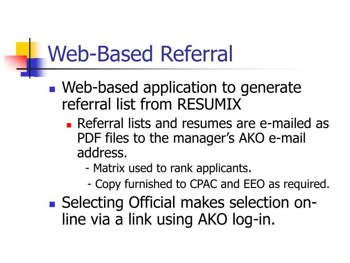 Web-Based Referral