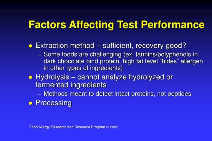 Factors Affecting Test Performance