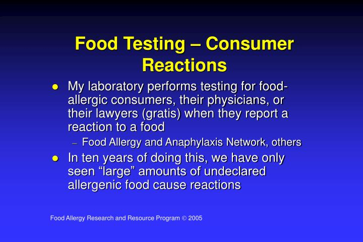 Food Testing – Consumer Reactions