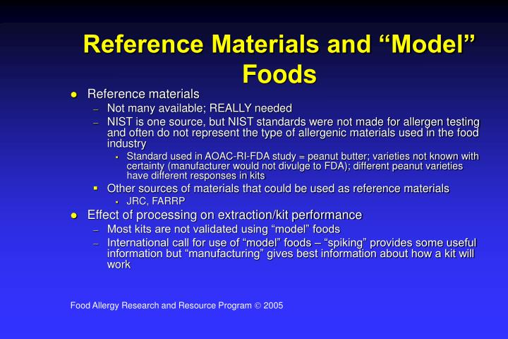 """Reference Materials and """"Model"""" Foods"""