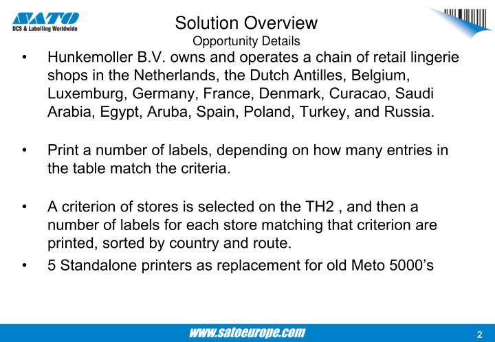 Solution overview opportunity details