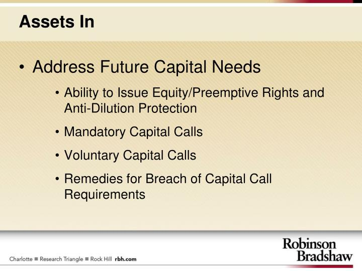 Address Future Capital Needs