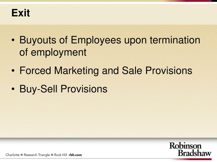 Buyouts of Employees upon termination of employment