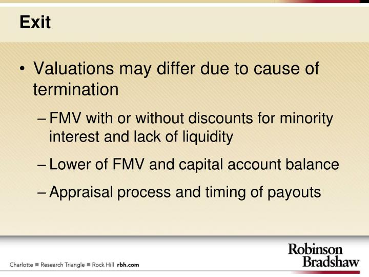 Valuations may differ due to cause of termination