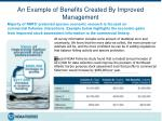 an example of benefits created by improved management