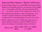expected mean squares relative efficiency1
