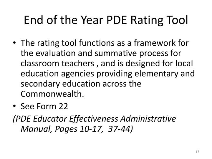 End of the Year PDE Rating Tool