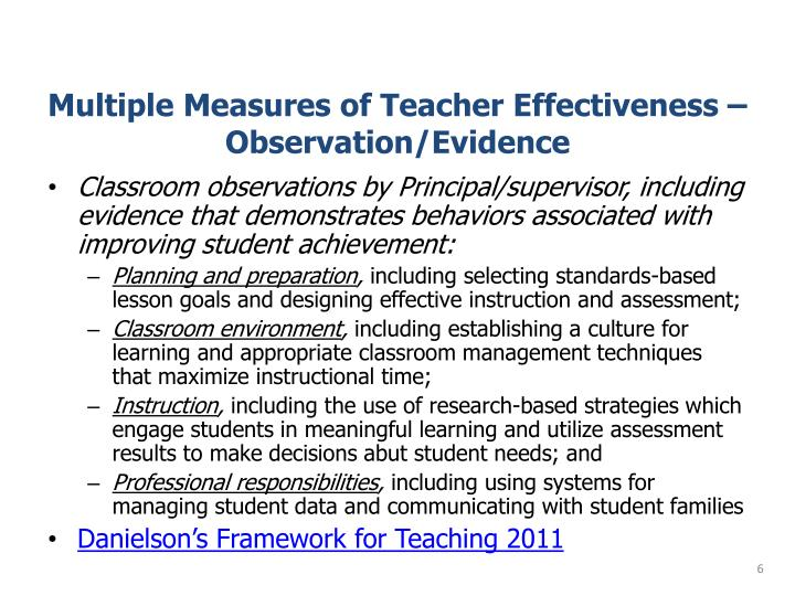 Multiple Measures of Teacher Effectiveness – Observation/Evidence